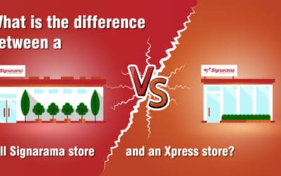 What is the difference between a full Signarama store and an Xpress store