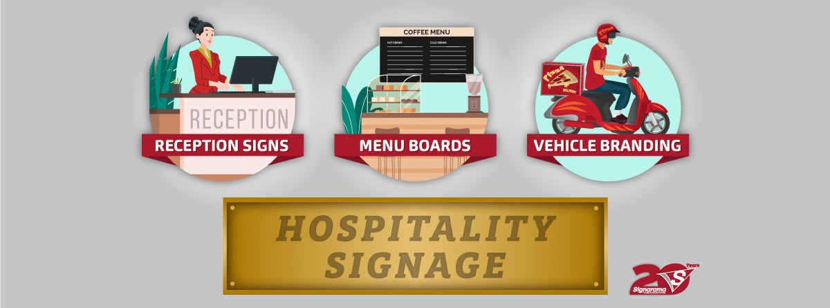 Take advantage of our signage offering to entice customers, visitors, and patrons into your hospitality establishment. With a country so rich in diversity, beauty and breath-taking sights, your business can attain success with appropriate signage and branding.